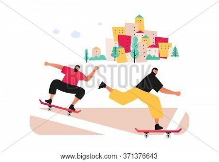 Friends Skateboarding In The City.  Summer Fun In The Fresh Air. Skateboarding. Vector Flat Illustra