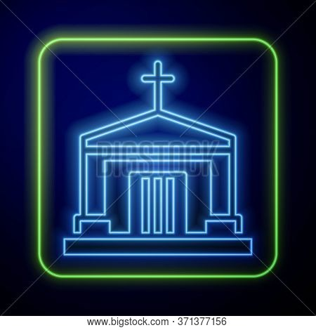 Glowing Neon Old Crypt Icon Isolated On Blue Background. Cemetery Symbol. Ossuary Or Crypt For Buria