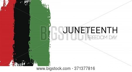Template Banner With Hand Draw Juneteenth Freedom Day Flag In Vector Format. Juneteenth Symbol Backg