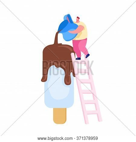Tiny Male Character Stand On Ladder Pour Chocolate On Huge Popsicle Ice Cream On Wooden Stick. Summe