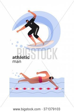 Aquatics. A Surfer Slides On A Board On An Ocean Wave. A Swimmer Performs A Crawl In The Pool. Sport