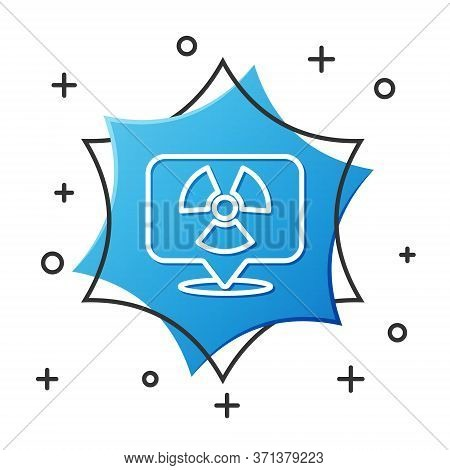 White Line Radioactive In Location Icon Isolated On White Background. Radioactive Toxic Symbol. Radi