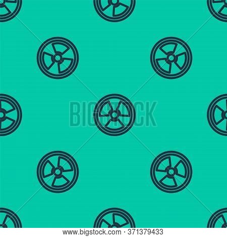 Blue Line Radioactive Icon Isolated Seamless Pattern On Green Background. Radioactive Toxic Symbol.