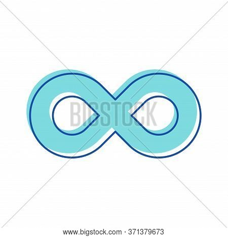 Infinity Symbol. Curve Contour In Shape Of Eight Number, Unlimited Cyclicity Label, Thickness Style