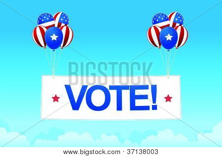 digital image of balloons with vote banner