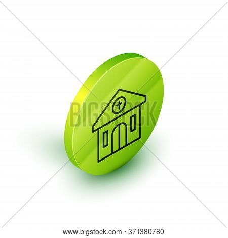 Isometric Line Church Building Icon Isolated On White Background. Christian Church. Religion Of Chur