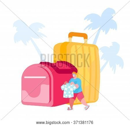 Summer Time Vacation, Travel On Tropical Country Resort With Luggage. Tiny Male Character Carry Summ