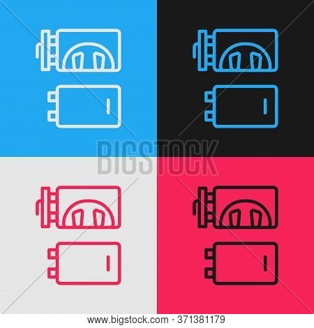 Pop Art Line Crematorium Icon Isolated On Color Background. Vector