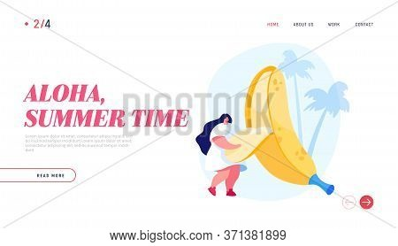 Exotic Tropical Fruits Eating Landing Page Template. Tiny Female Character Remove Peel From Huge Ban