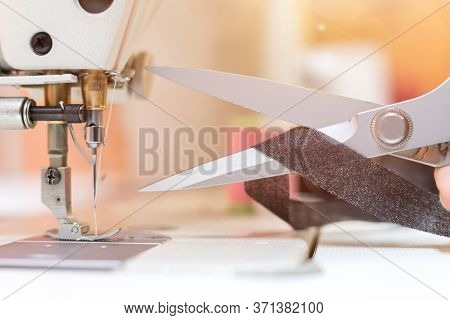 Sewing In A Tailor Workshop: Close Up Picture Of Sewing Scissors