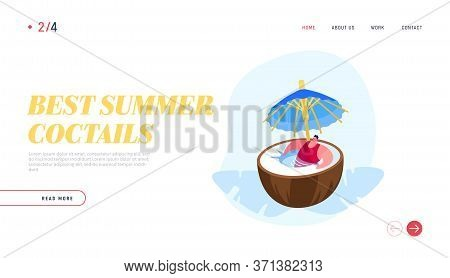 Summer Time Vacation Relax Landing Page Template. Man In Swim Suit Relaxing In Huge Coconut With Umb