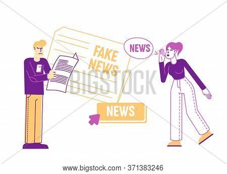 Fake News Information And Disinformation. Male Character Reading Newspaper, Woman Telling Gossips. M