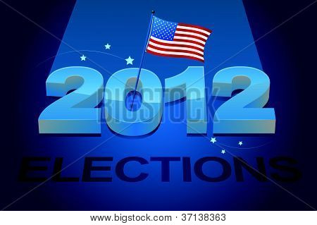 illustrated image of american flag and 2012 election