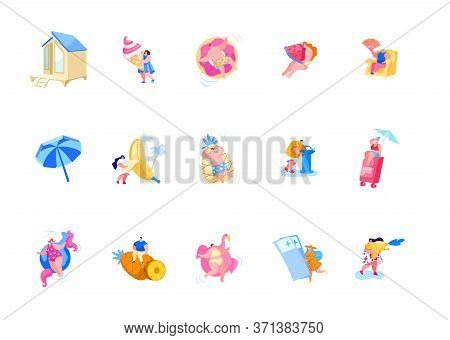 Set Of Male And Female Characters On Summer Vacation Eating Ice Cream, Float On Inflatable Ring And