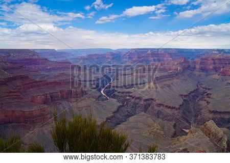Panoramic View Of The Grand Canyon And The Colorado River