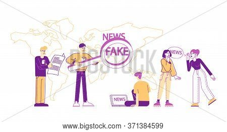 Fake News And Gossips, False Info Fabrication Concept. Tiny People Reading Newspapers, Social Media