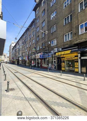 Sofia, Bulgaria - May 5, 2020:  Panorama Of Graf Ignatiev Street In Sofia, Bulgaria