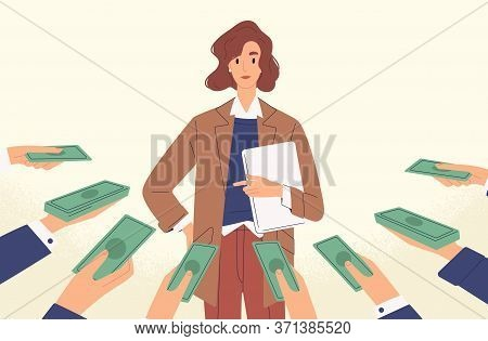 Woman Popular Specialist With Money At Human Hands Vector Flat Illustration. Female Demanded Profess