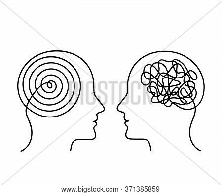 Two Human Heads With Opposite Thinking. The Concept Of Chaos And Order In Thoughts. Flat Vector Illu