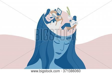 Portrait Of Female Character With Relax And Labor In Head Vector Flat Illustration. Colorful Woman E