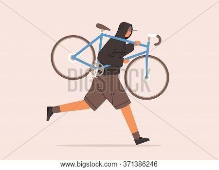 Male Carrying Broken Bike To Repair Service Vector Flat Illustration. Criminal Guy In Cap Running Wi