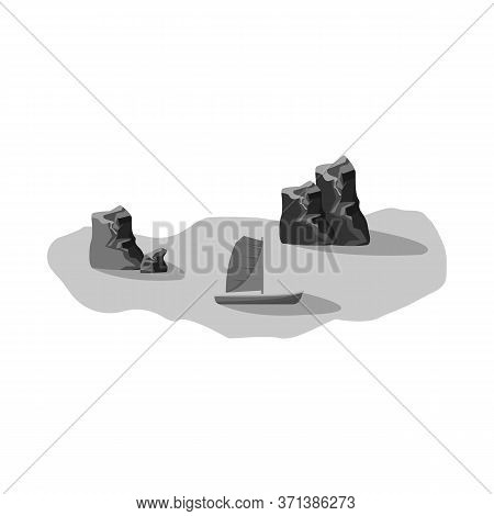 Isolated Object Of Rock And Bay Sign. Collection Of Rock And Vietnamese Vector Icon For Stock.