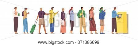 Diverse Crowd Stand In Line To Atm Vector Flat Illustration. Man And Woman In Queue Performing Finan