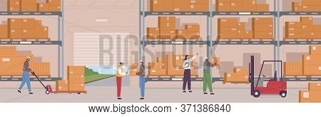 People In Safety Clothes Work At Warehouse Vector Flat Illustration. Man And Woman Inside Storage Of
