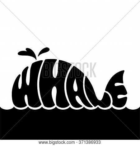 Black Logotype Lettering Whale In The Silhouette With Place For Your Text, A Floating Whale Launches