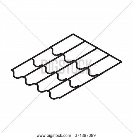 Material For Roof Isometric Vector Icon.line Vector Icon Isolated On White Background Material For R