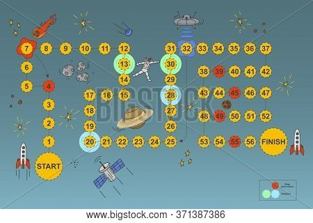 Vector Illustration Of A Board Game For Children On A Space Theme. Travel Through An Exciting Univer