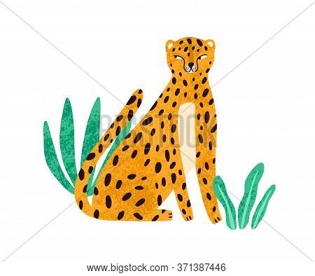Funny Cunning Leopard Sitting In Exotic Plants Vector Flat Illustration. Cute Spotted Wild Cat Isola