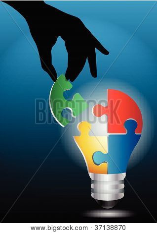 vector image of a human hand joining light bulb puzzle