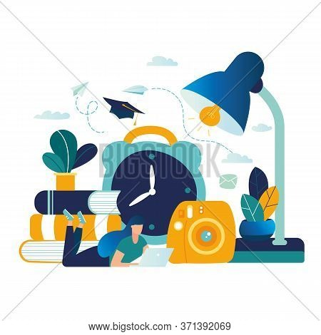 Education Vector Illustration. Graphic Elements Onlain Education. The Girl Lies On Her Stomach For L