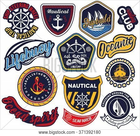 Large Selection Of Nautical And Maritime Labels Or Badges With Assorted Text And Icons Isolated On W