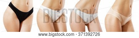 Options For Women's Panties On A Beautiful Female Body Front View Isolated Close Up Mockup
