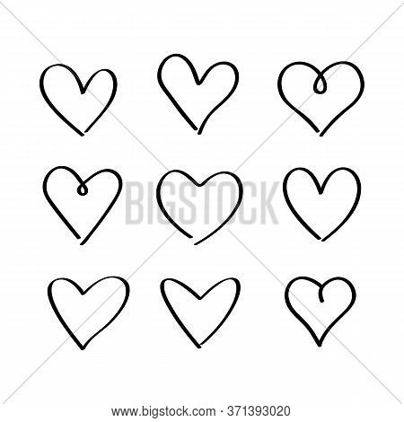 A Large Set Of Hand-drawn Hand-drawn Hearts. Sketch Of Nine Hearts For The Day Of St. Valentine. Fla