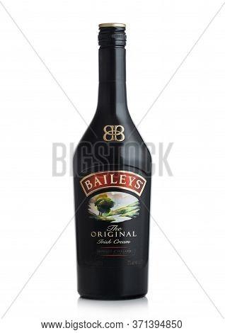 London, Uk - June 02, 2020: Bottle Of Baileys Original Irish Cream On White Background. Irish Whiske