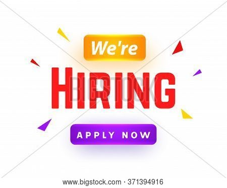 We Are Hiring Career Employee Message Background. Employment Hiring Job Recruitment Concept Banner