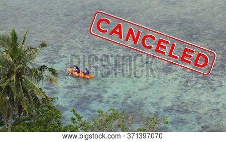Two People In Sea Kayak Rowing Next To Island Coast Tropical Sea Destination Pasumpahan Island, Pada