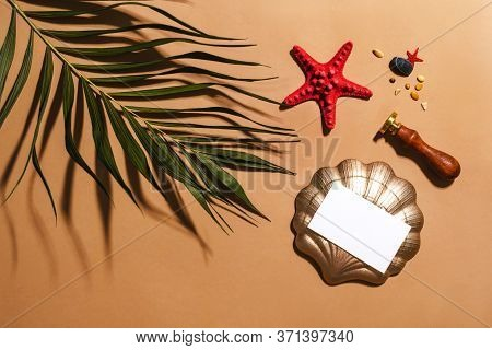 Empty Business Card, Red Sea Star, Tropical Green Palm Leaf Decor And Sealing Wax Stamp. Summer Tren