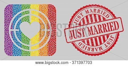 Grunge Just Married Stamp Seal And Mosaic Love Target Hole For Lgbt. Dotted Rounded Rectangle Mosaic