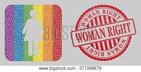 Grunge Woman Right Stamp And Mosaic Woman Subtracted For Lgbt. Dotted Rounded Rectangle Mosaic Is Ar