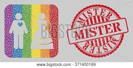 Distress Mister Stamp And Mosaic Marriage Persons Stencil For Lgbt. Dotted Rounded Rectangle Mosaic