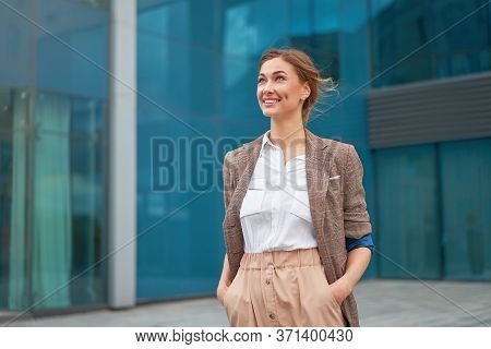 Businesswoman Successful Woman Business Person Standing Outdoor Corporate Building Exterior Smile Ha