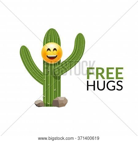 Cactus Free Hugs Print Illustration Funny Cute Cartoon Slogan. Cactus Tree Hug Art Design