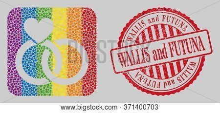 Distress Wallis And Futuna Stamp Seal And Mosaic Wedding Rings Stencil For Lgbt. Dotted Rounded Rect
