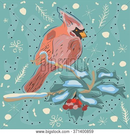 Seamless Pattern With Red Cardinal Birds On Blue Background. Vector Illustration