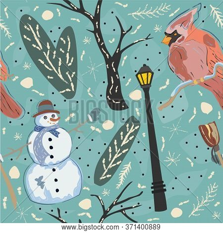 Seamless Pattern With Red Cardinal Bird On Blue Background. Vector Illustration