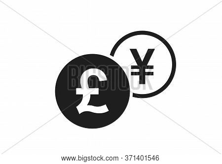 British Pound To Japanese Yen Currency Exchange Icon. Money Exchange And Banking Transfer Symbol